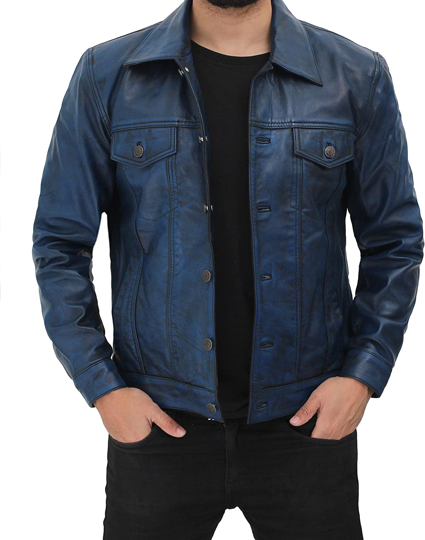 Fjackets Men Classic Trucker Leather Jacket | Vintage Lightweight Leather Jackets For Mens