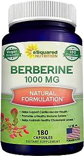 Pure Berberine 1000mg Supplement - 180 Veggie Capsules, Natural Berberine Hydrochloride HCL Plus, Max Strength 1000 mg (2X...