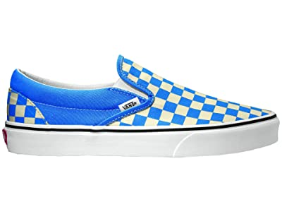 Vans Classic Slip-Ontm ((Checkerboard) Nebula Blue/True White) Skate Shoes