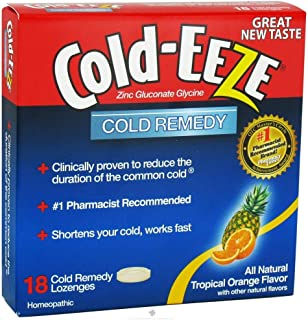 Cold-Eeze Zinc Gluconate Glycine Cold Remedy All Natural Tropical Fruit - 18 Lozenges, 2 pack (image may vary)
