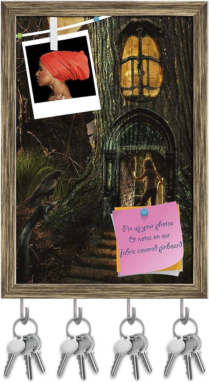 Artzfolio Girl in Fairy Forest D2 Key Holder Hooks   Notice Pin Board   Antique golden Frame 12 X 17.6Inch
