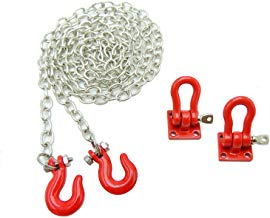 Boliduo RC Rock Crawler Tow Chain and Tow Hook Trailer Buckle Decorative Accessories for 1/10 Scale Axial SCX10 90046 90047 RC4WD D90 D110 TF2 Tamiya CC01 RC Climbing Car (Red)