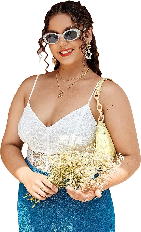 Romwe Women's Plus Size Floral Lace Spaghetti Strap Deep V Neck Mesh Cami Bodysuit Tops