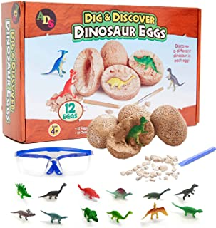 ADS Ultimate 12 Dinosaur Eggs Science Kit–Dig Up Dino Fossils and Assemble Skeleton Set! - Each Includes 1 Piece of Chisel...