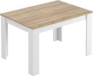 Habitdesign 0F4586ATable de salle à manger extensible de 140à 190cm Couleur chêne canadien et blanc Artik Dimensions fe...