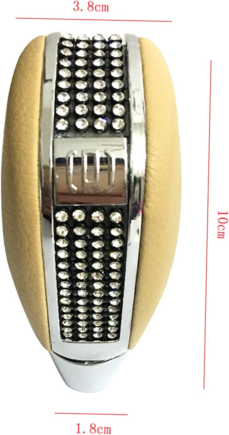 Beige Bashineng Car Stick Shift Knob Leather Gear Shifter Head for Most Manual Automatic Vehicle