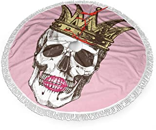 funny dog Christmas Tree Skirt,King of Death. Portrait of A Skull with A Crown and Lipstick. Vector Rock Illustration 48inch Tree Skirt with White Snowflakes for Christmas Holidays Decoration