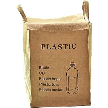 (ADOSSY) ふた付き ランドリーボックス 洗濯かご キッチン 分別 ゴミ箱 ダストボックス (ペットボトル柄)