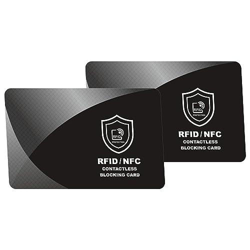 RFID Blocker Karte - NFC Schutzkarte - Störsender - Kreditkarten Schutz | Blockierkarten für Geldbörse, Cliphalter, Bankkarte, Ausweise, Reisepass | Geschenk für Frauen und Männer | 2 Stück