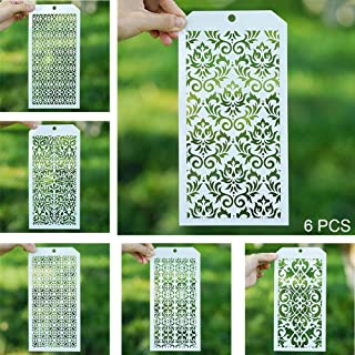 DIY Decorative Stencil Template for Scrapbooking Paiting on Wall Furniture Crafts,Set of 6 (Damask)
