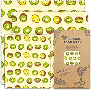 Beeswax Reusable Food Wrap, Organic Natural Beewax Wrap for Bread & Sandwich Wrapping, Eco-Friendly Bees Wrap, Organization Storage Cheese Bee Wrappers Cling, Safe Food Storage– 3 Sizes (S, M, L)