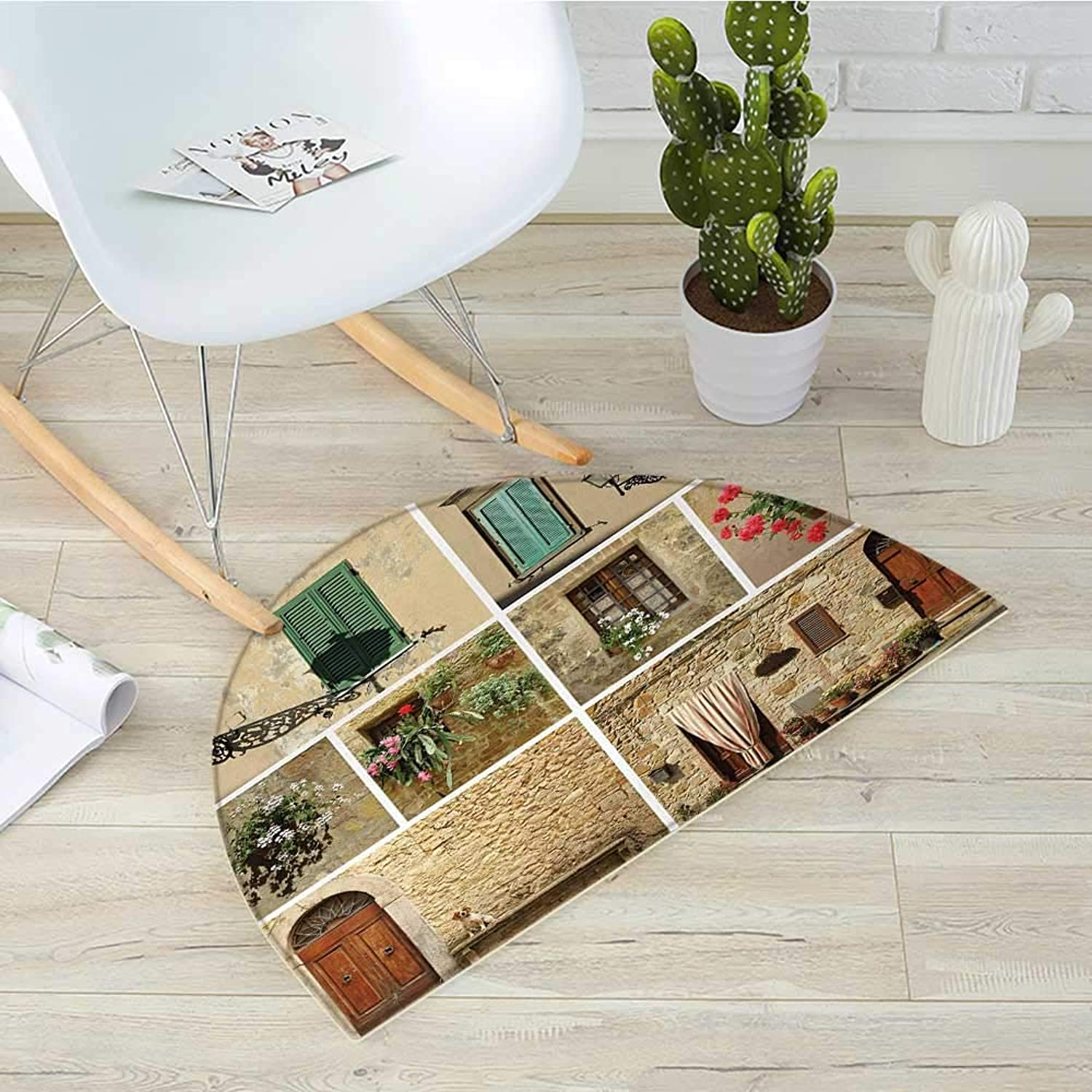 Italian Semicircular CushionPictures of Italian Lifestyle with Old Classic Shutter Window Stone Houses Print Entry Door Mat H 35.4  xD 53.1  Multicolor