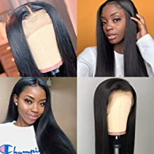 ORIGINAL QUEEN Straight Lace Front Wig With Pre Plucked Hairline Brazilian Straight Human Hair Wigs Natural Color(18 inches)