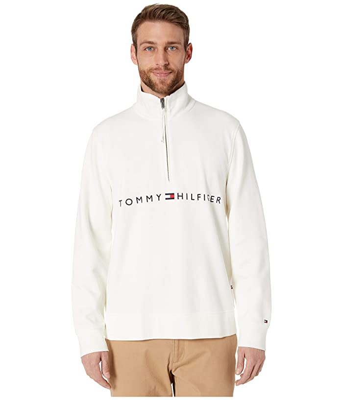 Tommy Hilfiger Adaptive  Mock Neck with Extended Half Zipper Pull (Snow White) Mens Clothing