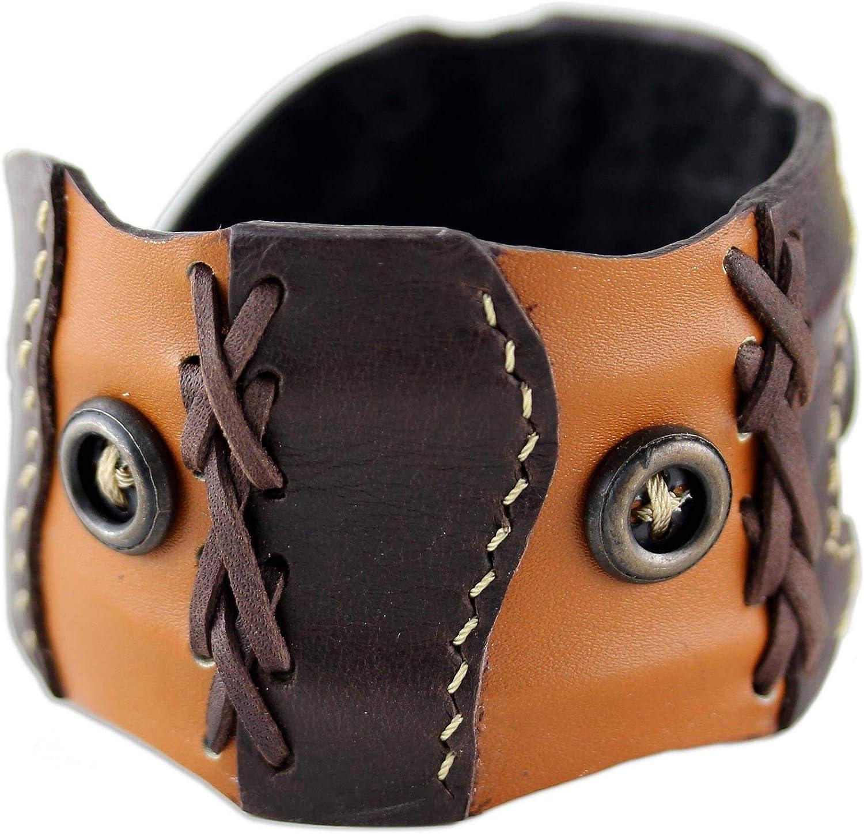 NOVICA Brass Leather Cuff Bracelet 'Chestnut Buttons'