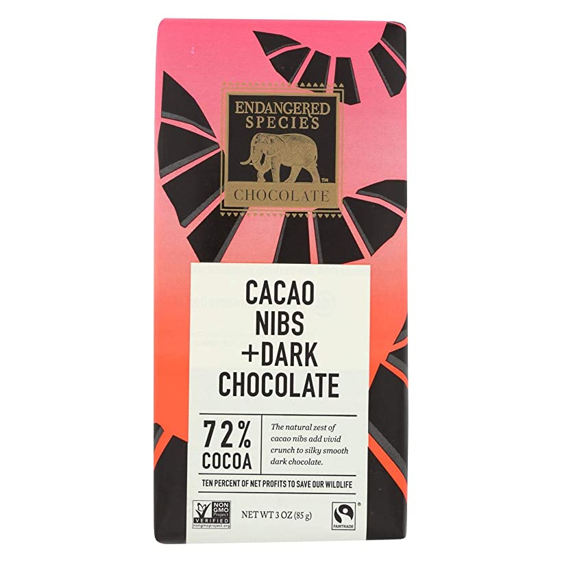 Endangered Species Natural Chocolate Bars - Dark Chocolate - 72 Percent Cocoa - Cacao Nibs - Kosher - 3 oz Bars - Case of 12 ilpf922487219761