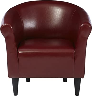 Zipcode Design Faux Leather Barrel Chair, Living Room Chair, Merlot