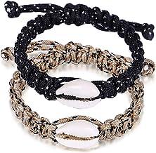 MengPa Cowrie Shell Rope Bracelet Set for Women Men Adjustable 2Pcs