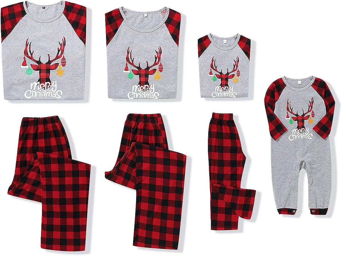 SANMIO Christmas Family Outfit Set Matching Sleeve Blouse Plaid Long Pants Pajama Set Xmas Pajamas Sleepwear Holiday Suit for Dad Mom Kids Girls Boys
