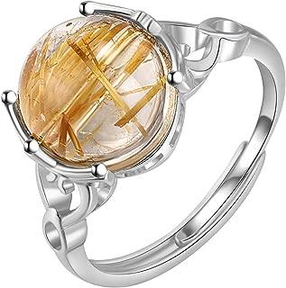 指輪 天然石 シルバー925 ストレス解消 調節可能 巾着付き ソリティア リング 誕生石 レディース 人気 婚約 結婚式 プレゼント 女性 (Yellow)