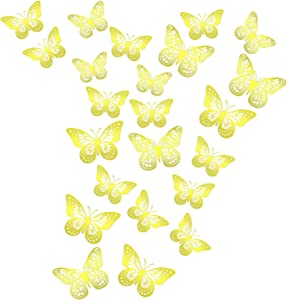 24pcs 3D Butterfly Removable Wall Stickers Mural Decor, 2styles 3 Sizes Gold Butterfly for Baby Girl Bedroom Room Kitchen Classroom Wedding Birthday Party Cake Decoration DIY Gift(Gold)