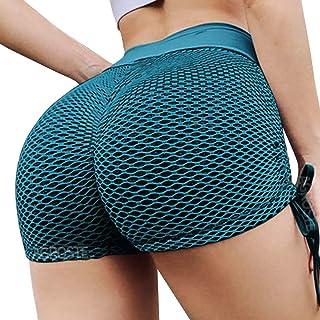 Women's Butt Lift Yoga Shorts High Waist Tummy Control Scrunch Hot Pants Textured Ruched Leggings Gym Running Beach Shorts