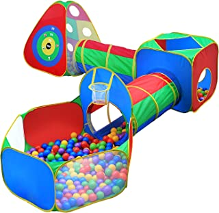 5pc Kids Ball Pit Tents and Tunnels, Toddler Jungle Gym Play Tent with Play Crawl Tunnel Toy , for Boys babies infants Chi...