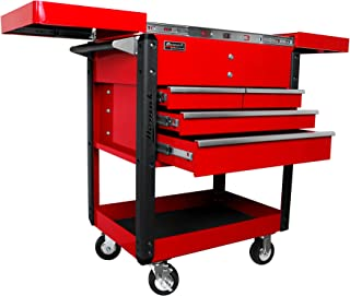 Homak 35-Inch Professional Series 4-Drawer Slide-Top Service Cart, Red, RD06043500