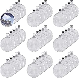 Oopsu 40 Pieces Transparent Glass cabochons with 40 Silver Pendant Trays, Clear Glass Dome cabochon, Non-calibrated Round for Photo Pendant Craft Jewelry Making (Silver, 30mm)