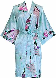 KIM+ONO Women's Kimono Short Robe - Peacock & Blossoms