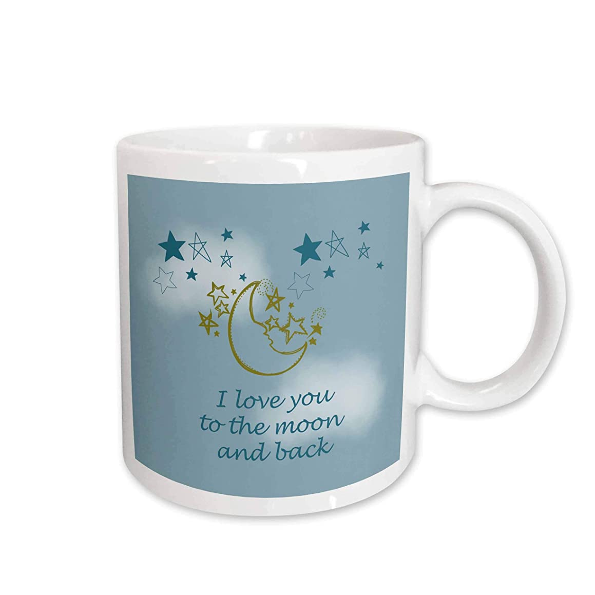 3dRose I Love You to The Moon and Back Ceramic Mug, 15-Ounce