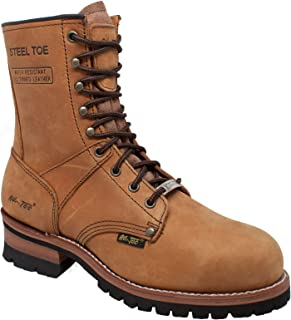 Ad Tec 9in Super Logger Waterproof Work Boots for Women Crazy Horse Leather, Steel Toe, Oil Resistant Lug Sole