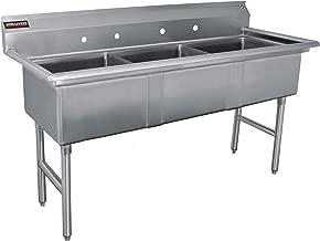 DuraSteel 3 Compartment Stainless Steel Prep & Utility Sink with Cross Leg Bracing - 24