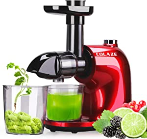 COLAZE Juicer Machines, Cold Press Juicer with 150W Quiet Motor, Slow MasticatingJuicer with 2 Speed and Reverse Function, Celery Juicer with Recipe and Brush