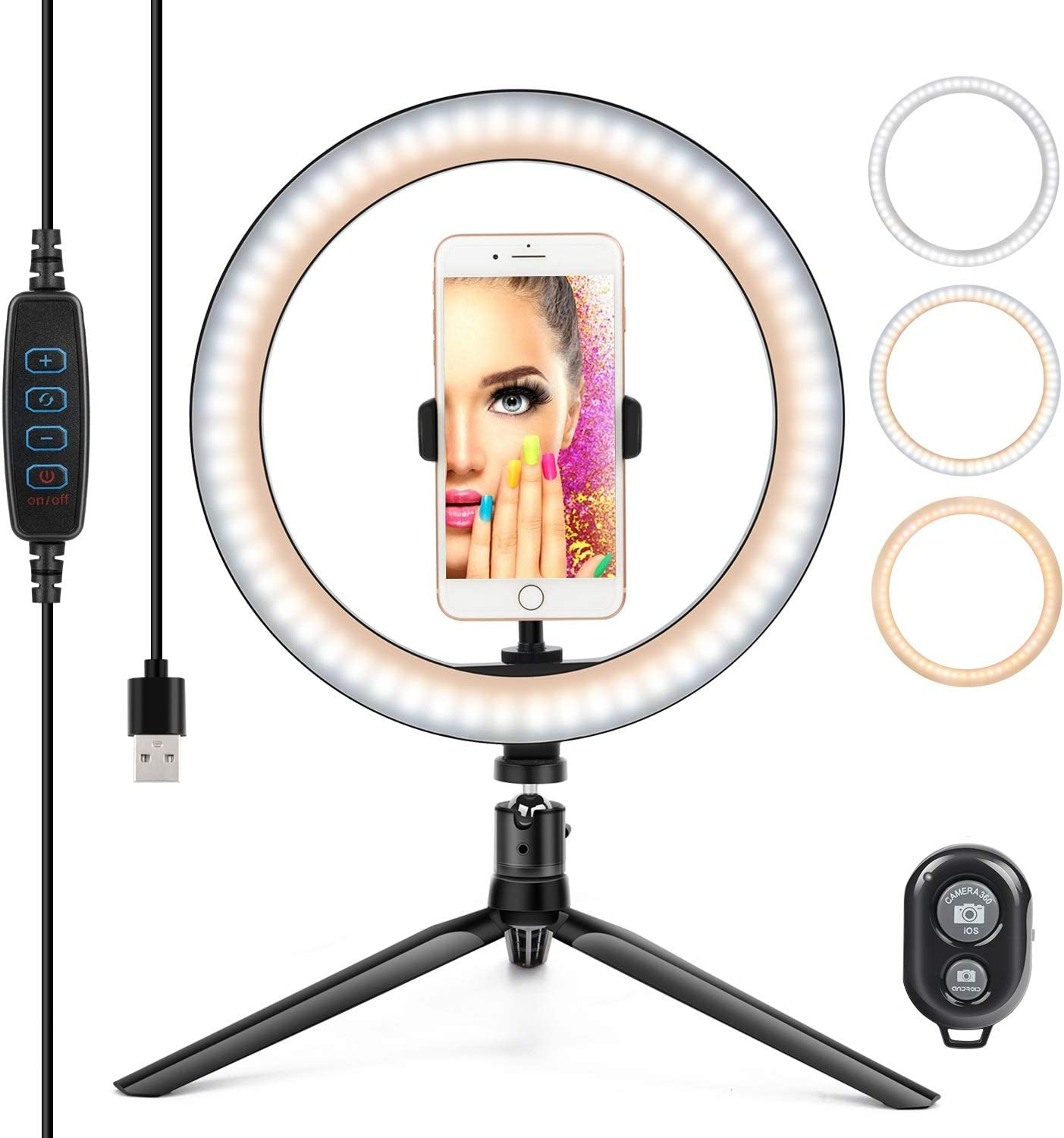 """10"""" Ring Light LED Desktop Selfie Ring Light USB LED Desk Camera Ringlight 3 Colors Light with Tripod Stand iPhone Cell Phone Holder and Remote Control for Photography Makeup Live Streaming (Natural): Camera & Photo"""
