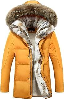 Men's Winter Duck Down Thick Warm Hooded Luxury Fur Coat Jacket Parka
