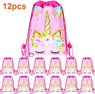 12 Pack Unicorn Drawstring Party Bag, Unicorn Party Favors Bags Drawstring Backpacks Gifts Bags Birthday Party Supplies Favor Bag for Kids Children Girls Baby Shower (P58-12Pack)