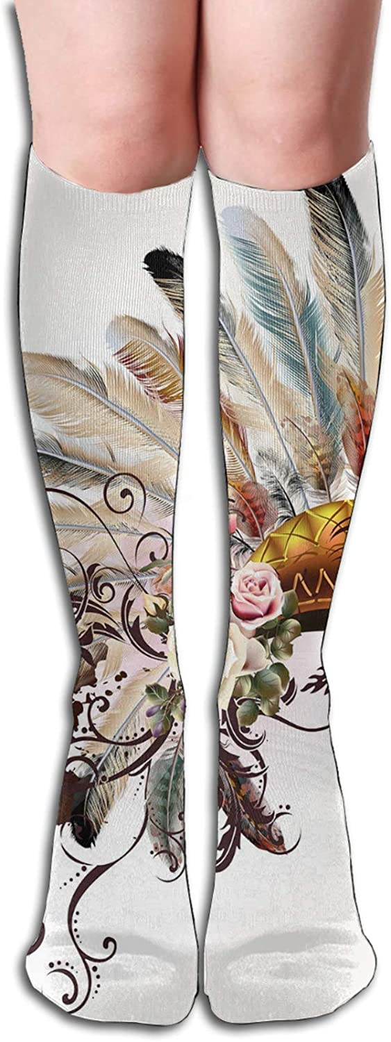 Compression High Socks-Native American Symbol With Floral Arrangements Head Wear Flowers Swirls Shapes Best for Running,Athletic,Hiking,Travel,Flight 8.5 x 50cm