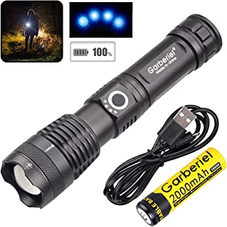 Garberiel XHP50 Flashlight LED USB Rechargeable Torch Light Tactical Waterproof Torchlight Zoomable 5 Modes