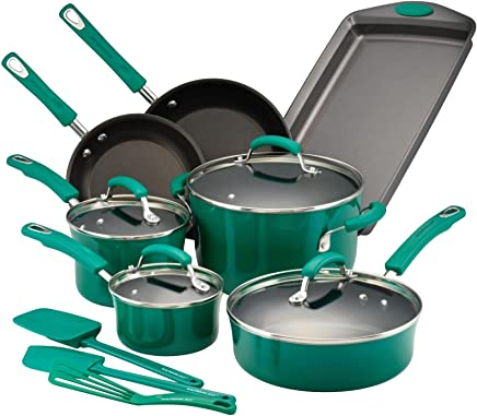 Rachael Ray 14557 14-Piece Aluminum Cookware Set, Fennel Gradient