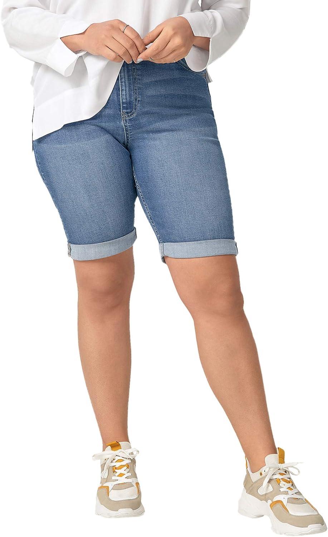 ellos Women's 限定品 Plus 予約 Size Denim Shorts Bermuda