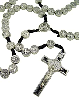 CB Mens Womens Silver Tone Antiqued Saint St Benedict Icon Medal 17 Inch Cord Rosary Crucifix Exorcism