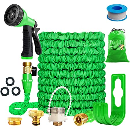 """Running Bulls 100feet Expandable Garden Hose, Expanding hose pipes With Mixer Tap Connector/Hose Hanger/Storage Bag/ 3/4"""" Solid Fittings/Free 8 Function Spray Nozzle/for House/Car/Floor/Yard Wash"""