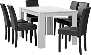 [en.casa] Table à Manger Blanc Mat avec 6 chaises Gris foncé Cuir synthétique rembourré 140x90
