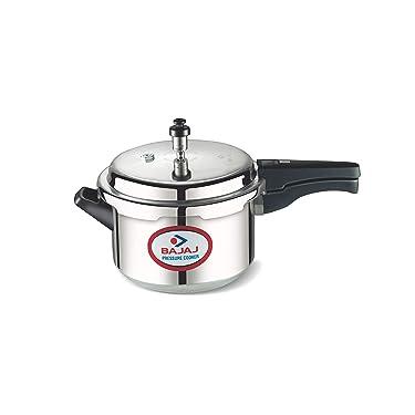 Bajaj PCX 2 Aluminium Pressure Cooker with Outer Lid, 2 litres, Sliver