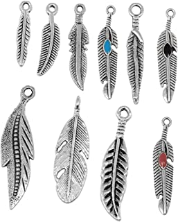 RUBYCA 10PCS Tibetan Silver Color Mix Feather Pendants Charms Bracelet Necklace Making Jewelry