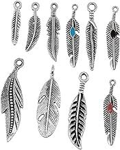 RUBYCA 30PCS Tibetan Silver Color Mix Feather Pendants Charms Bracelet Necklace Making Jewelry