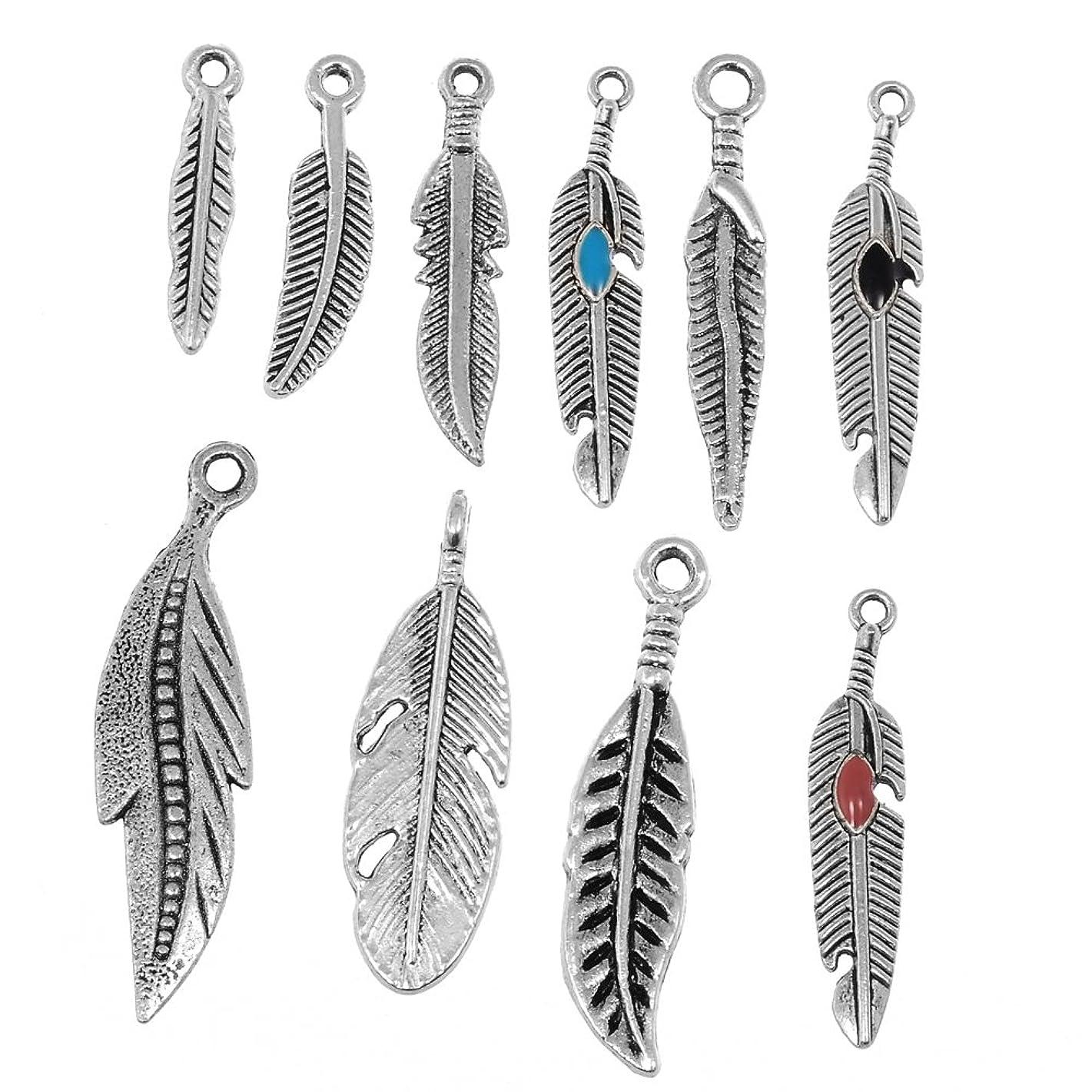 RUBYCA 100PCS Tibetan Silver Color Mix Feather Pendants Charms Bracelet Necklace Making Jewelry