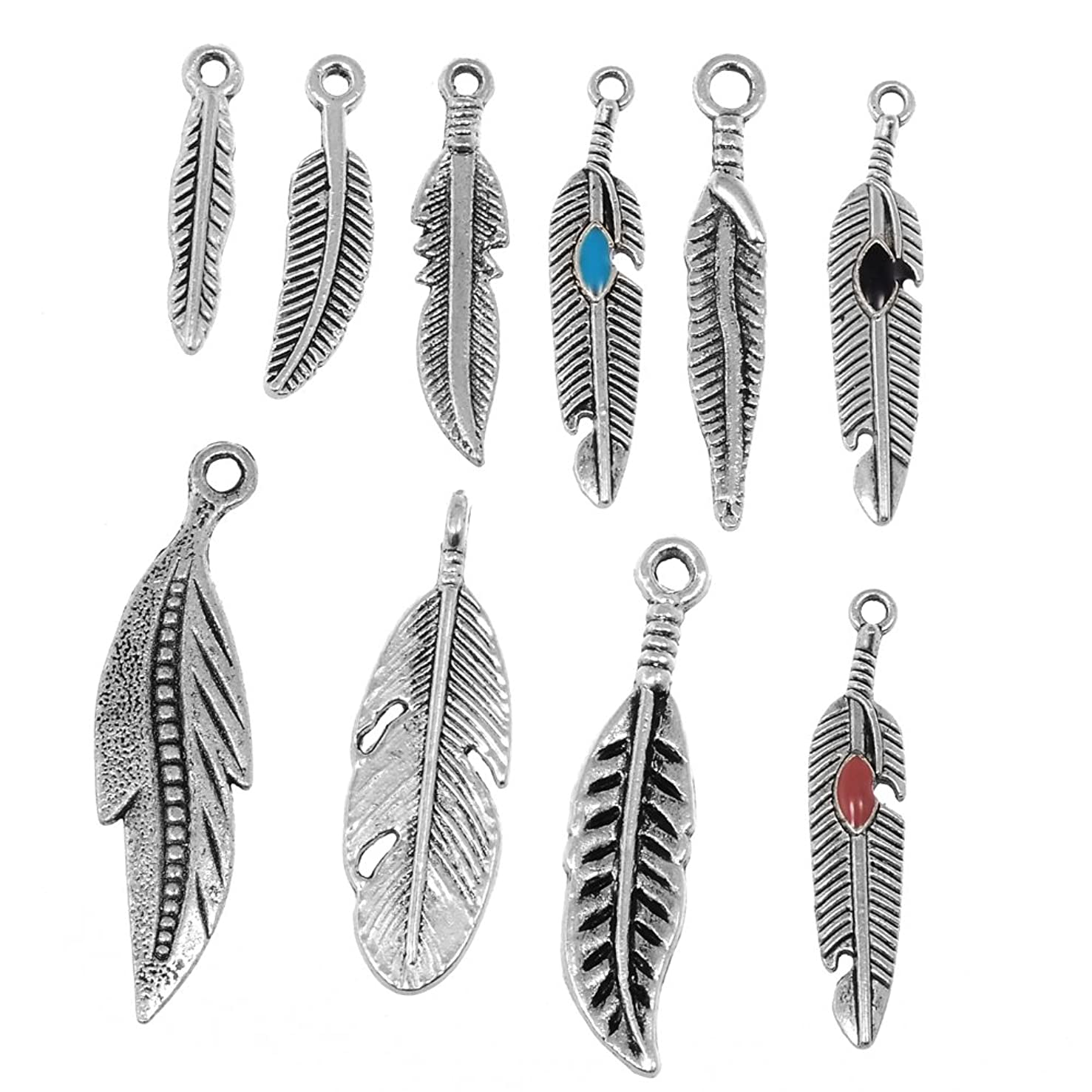 RUBYCA 50PCS Tibetan Silver Color Mix Feather Pendants Charms Bracelet Necklace Making Jewelry