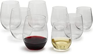 Riedel O Chardonnay and Cabernet Stemless Wine Glasses 5414/50, Set of 8, Clear